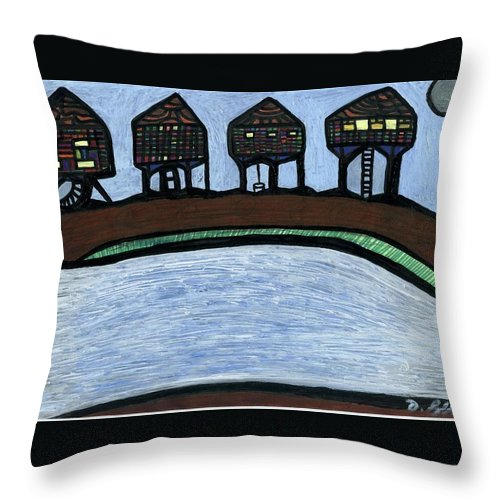 Multicultural Nfprsa Product Review Reviews Marco Social Media Technology Websites \\\\in-d�lj\\\\ Darrell Black Definism Artwork Throw Pillow featuring the drawing Riverside by Darrell Black