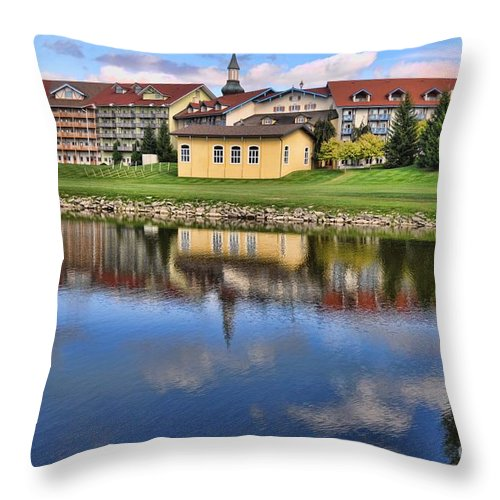 Hotel Throw Pillow featuring the photograph Riverside Hotel by Chris Fleming
