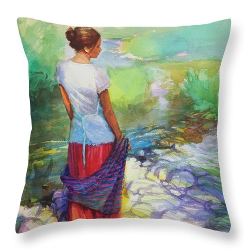 Country Throw Pillow featuring the painting Riverside Muse by Steve Henderson