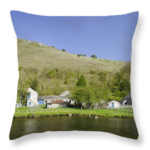 Water Throw Pillow featuring the photograph Riverside Setting At Monsal Dale by Rod Johnson