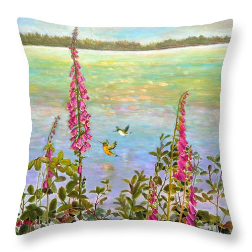 Hummingbirds Throw Pillow featuring the painting Riverside Wonders II by Eileen Fong