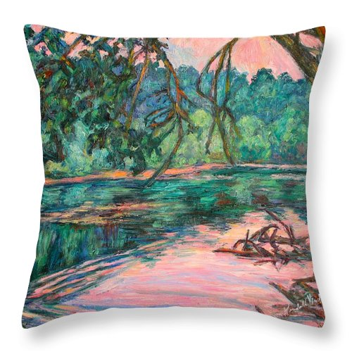 Riverview Park Throw Pillow featuring the painting Riverview At Dusk by Kendall Kessler