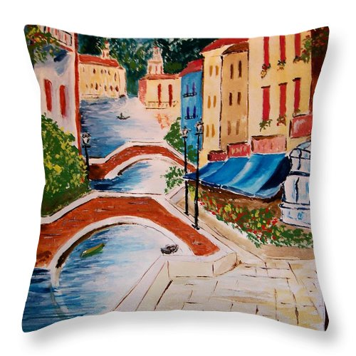 Canal Throw Pillow featuring the painting Riverwalk by Leo Gordon