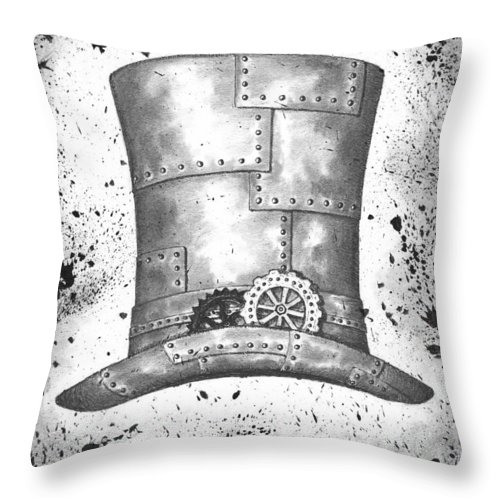 Ink Throw Pillow featuring the drawing Riveting Top Hat by Adam Zebediah Joseph