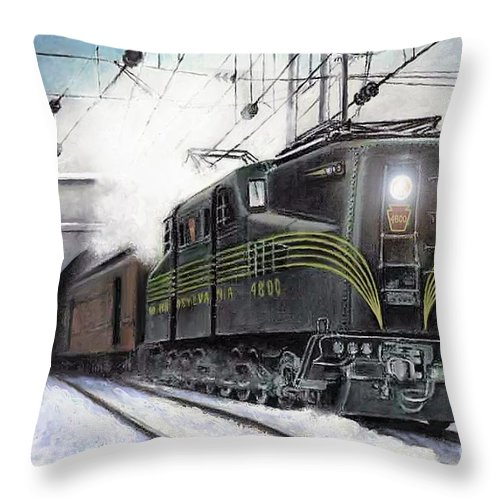 Pennsylvania Railroad Throw Pillow featuring the painting Rivets by David Mittner