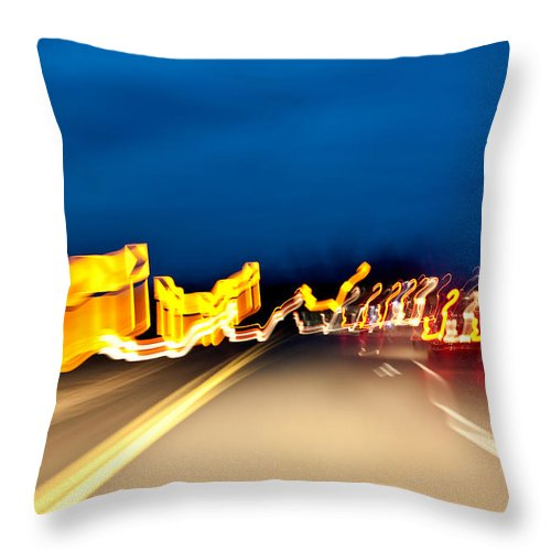 Freeway Throw Pillow featuring the photograph Road At Night 2 by Steven Dunn