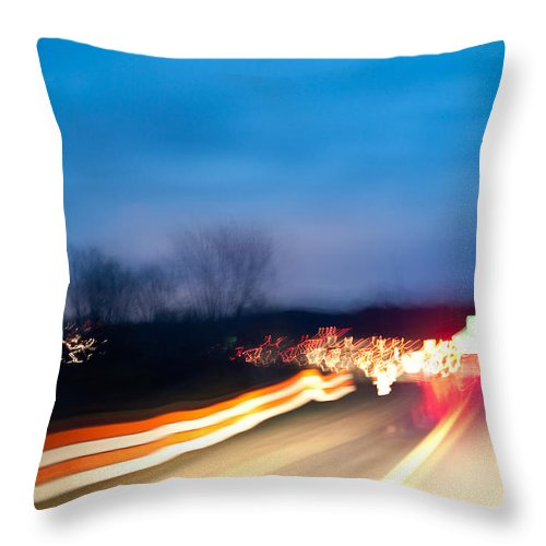 Freeway Throw Pillow featuring the photograph Road At Night 3 by Steven Dunn