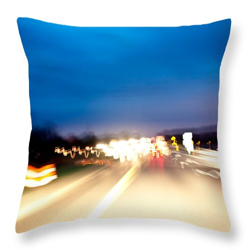 Freeway Throw Pillow featuring the photograph Road At Night 5 by Steven Dunn