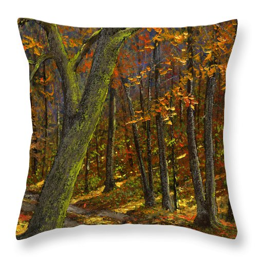 Landscape Throw Pillow featuring the painting Road In The Woods by Frank Wilson