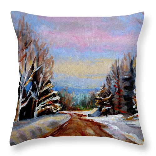 Road To Knowlton Quebec Throw Pillow featuring the painting Road To Knowlton Quebec by Carole Spandau