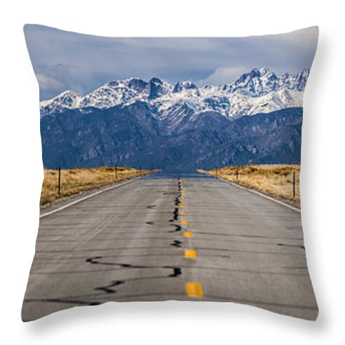 Mountains Throw Pillow featuring the photograph Road To The Mountains Panorama by Benjamin Reed