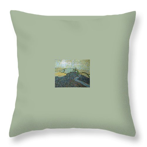 Landscape Throw Pillow featuring the painting Road To Tuscany by Stefan Duncan