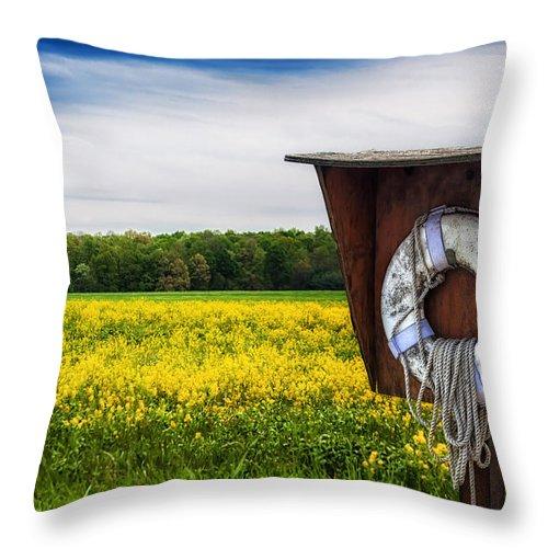 Blue Throw Pillow featuring the photograph Roadside Assistance by Tom Mc Nemar