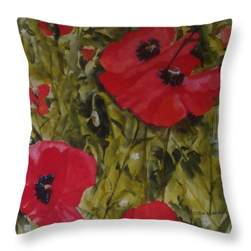 Poppies Throw Pillow featuring the painting Roadside Poppies by Jean Blackmer