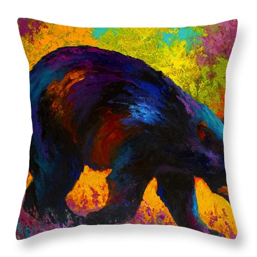 Bear Throw Pillow featuring the painting Roaming - Black Bear by Marion Rose