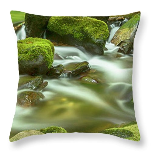 Roaring Fork Throw Pillow featuring the photograph Roaring Fork Cascade by Stephen Stookey