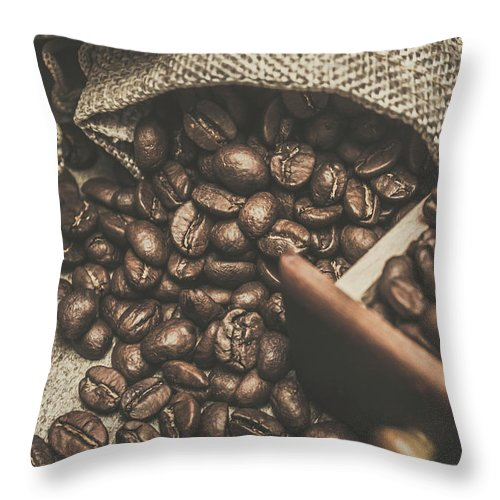 Bean Throw Pillow featuring the photograph Roasted Coffee Beans In Close-up by Jorgo Photography - Wall Art Gallery