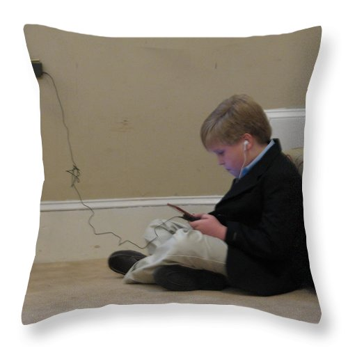 Ds Throw Pillow featuring the photograph Rob Plays by Kelly Mezzapelle