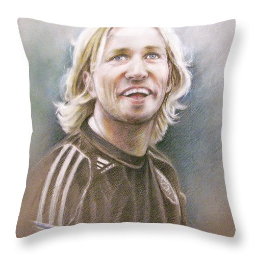 Pastel Portrait Throw Pillow featuring the painting Robbie Savage by Miki De Goodaboom