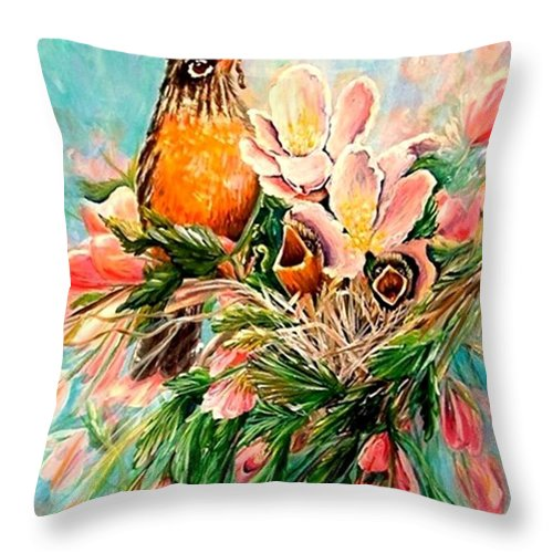 Robins Throw Pillow featuring the painting Robin Hood by Carol Allen Anfinsen