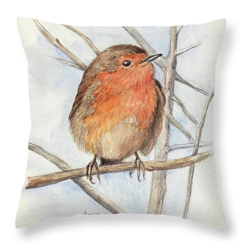 Animal Throw Pillow featuring the painting Robin by Morgan Fitzsimons