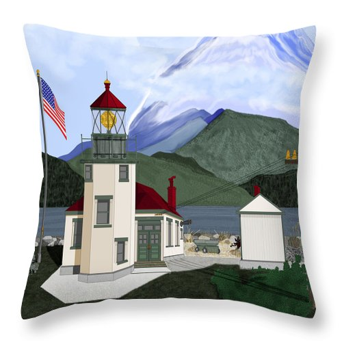 Point Robinson Lighthouse Throw Pillow featuring the painting Robinson Point With Mount Rainier by Anne Norskog