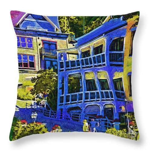 Roche Harbor Throw Pillow featuring the digital art Roche Harbor Street Scene by Kirt Tisdale