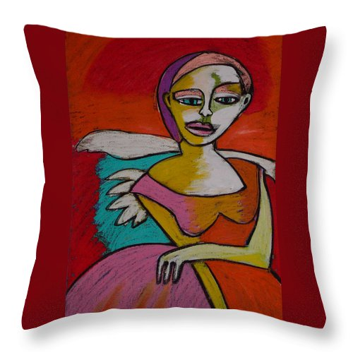 Figurative Throw Pillow featuring the painting Rock And Roll Angel by Angelina Marino