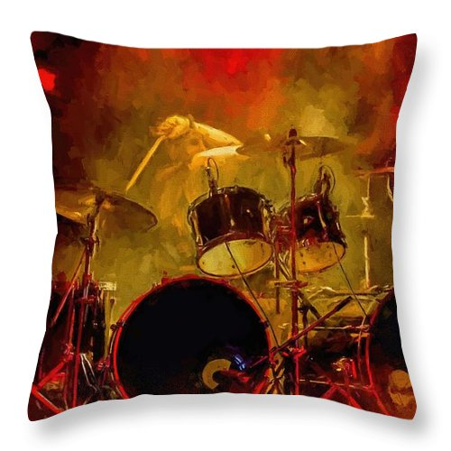 Rock And Roll Drum Solo # Rock And Roll # Drum Set # Rock And Roll Drum Paintings # Abstract Music Art # Zildjian # Drum Solo Painting # Concert # Smoke # Fog # Throw Pillow featuring the digital art Rock And Roll Drum Solo by Louis Ferreira