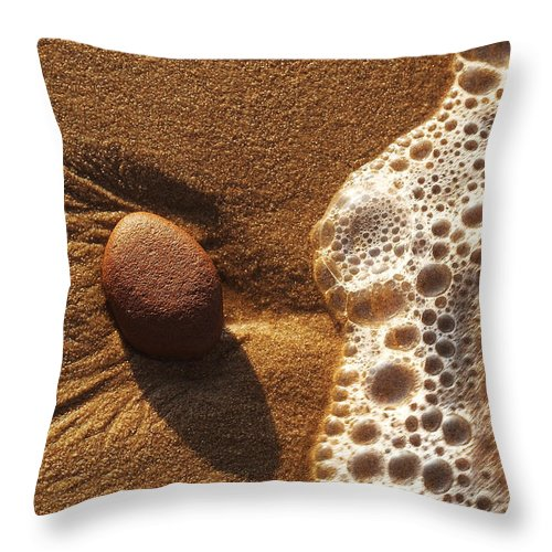 Rock Throw Pillow featuring the photograph Rock And Surf-1 by Steve Somerville