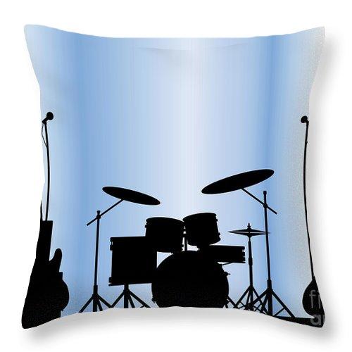 Rock Bandm Guitar Throw Pillow featuring the digital art Rock Band Equipment by Bigalbaloo Stock