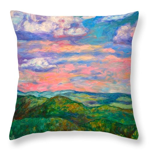 Landscape Paintings Throw Pillow featuring the painting Rock Castle Gorge by Kendall Kessler