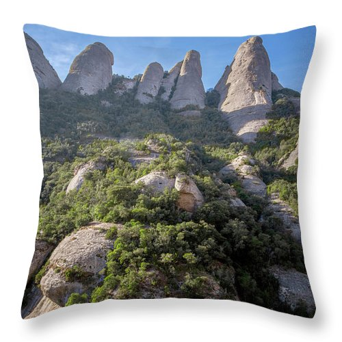 Montserrat Throw Pillow featuring the photograph Rock Formations Montserrat Spain by Joan Carroll