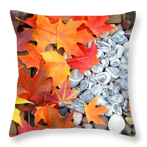 Autumn Throw Pillow featuring the photograph Rock Garden Autumn Leaves by Baslee Troutman