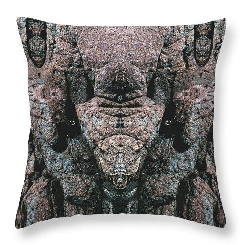 Rocks Throw Pillow featuring the digital art Rock Gods Elephant Stonemen of Ogunquit by Nancy Griswold