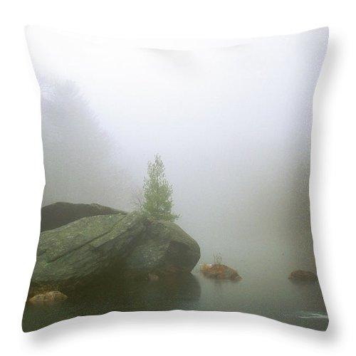 Massachusetts Throw Pillow featuring the photograph Rock House Reservation Carter Pond Fog by John Burk