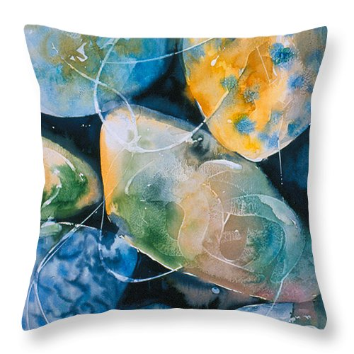 Water Throw Pillow featuring the painting Rock In Water by Allison Ashton