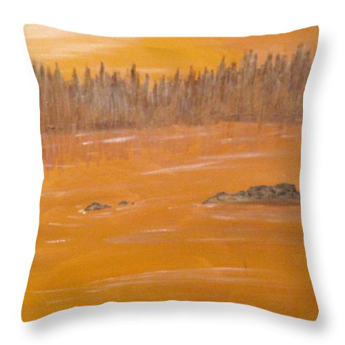 Northern Ontario Throw Pillow featuring the painting Rock Lake Morning 2 by Ian MacDonald