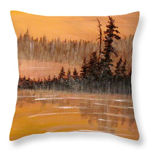 Northern Ontario Throw Pillow featuring the painting Rock Lake Morning 3 by Ian MacDonald