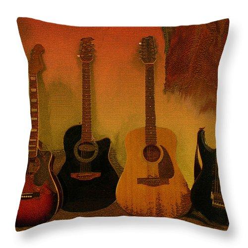 Music Throw Pillow featuring the photograph Rock N Roll Guitars by Linda Sannuti