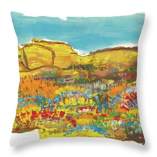Rocks Throw Pillow featuring the painting Rock Springs by Bjorn Sjogren