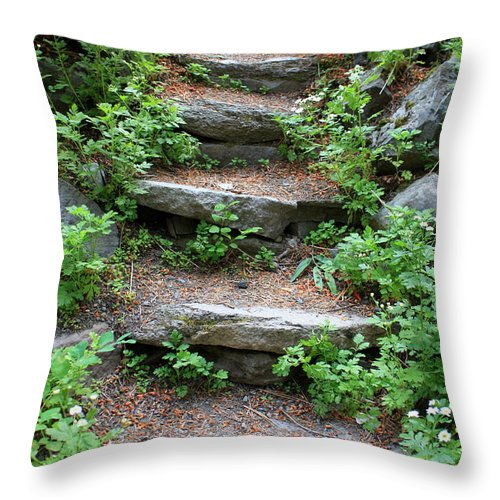 Rock Stairs Throw Pillow featuring the photograph Rock Stairs by Carol Groenen