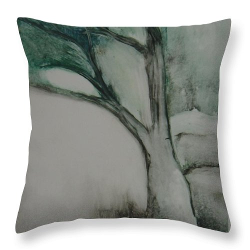 Monoprint Tree Rock Trees Throw Pillow featuring the painting Rock Tree by Leila Atkinson