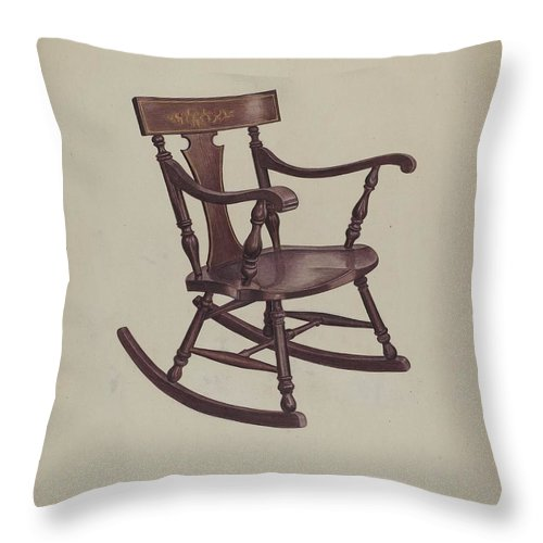 Throw Pillow featuring the drawing Rocker by Violet Hartenstein