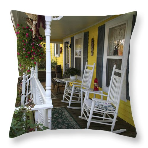 Rocking Chair Throw Pillow featuring the photograph Rockers On The Porch by Margie Wildblood