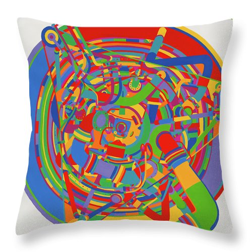Rocket Throw Pillow featuring the painting Rocket by Janet Hansen