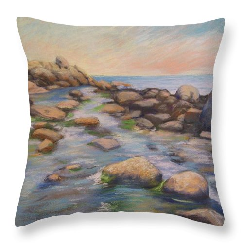 Mcgrath Throw Pillow featuring the painting Rockport Harbour by Leslie Alfred McGrath