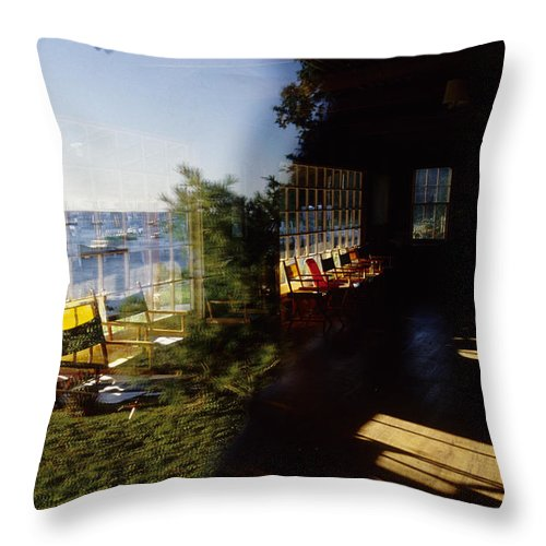 Seascape Throw Pillow featuring the photograph Rockport Yacht Clubhouse by Steve Somerville