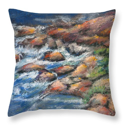 Rocks Throw Pillow featuring the pastel Rocks Along The Shore by Arline Wagner