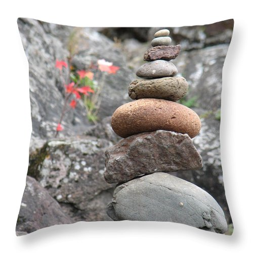 Rocks Throw Pillow featuring the photograph Rocks And Roses by Kelly Mezzapelle